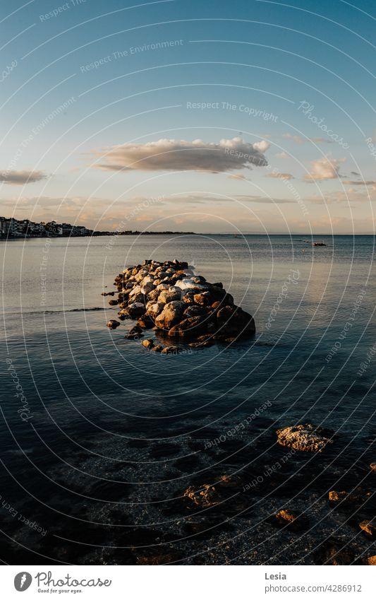 Sea stones! SEA Beach quay Evening Sunset warm evening light Ocean mood Summer sea stones