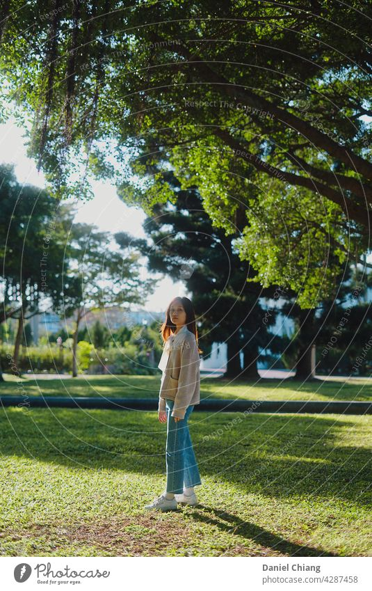 Pretty Girl Standing Under The Tree Sunlight Portrait photograph portrait asian Adults Beautiful girls Young woman Fashion Beauty Photography Exterior shot