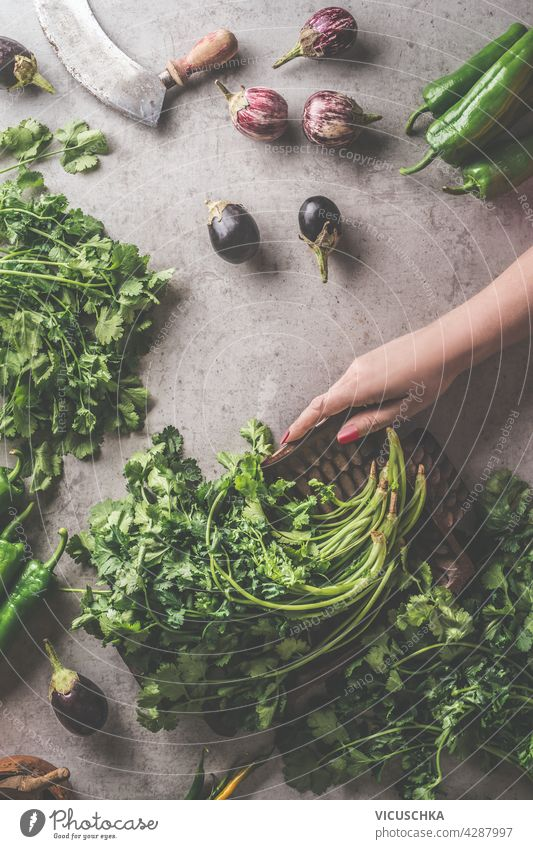 Woman hands holding vintage bowl with fresh herbs. Healthy cooking preparation. Top view kitchen woman box concrete dark background ingredients like vegetables