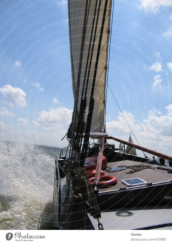 tilted position Sailing Waves Watercraft Ijsselmeer Vacation & Travel Summer Ocean Navigation Sun