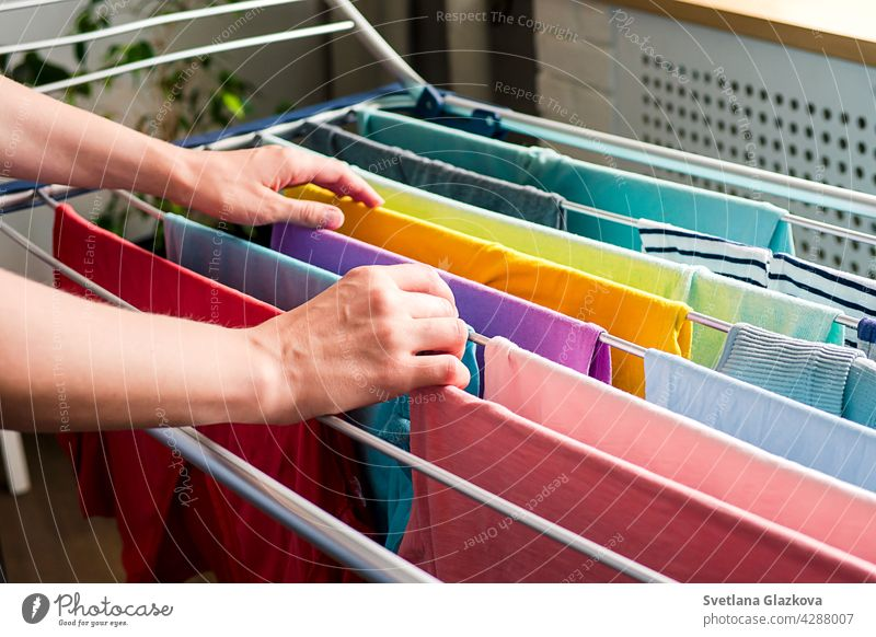 Laundry day Rainbow color clothes hanging on washing line to dry indoors home laundry clean household rainbow clothing housework cotton fresh textile domestic