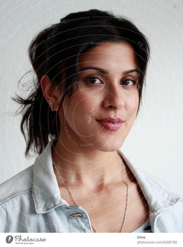 Estila kind Braids Earring Jewellery portrait Dark-haired Long-haired Jeans jacket Jacket Woman Forward Smiling Looking