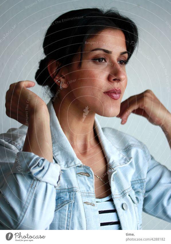 Estila Woman Jacket T-shirt Jeans jacket Long-haired Dark-haired Braids portrait bli k Half-profile Jewellery Earring hands lost in thought Arm Upper body