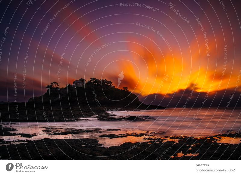 campfire, wine and silence Lifestyle Joy Happy Environment Nature Landscape Elements Air Water Sky Night sky Sunrise Sunset Summer Beautiful weather Rock Waves