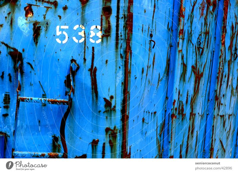 538 Digits and numbers Trash Scrap metal Transport Container Rust Blue Industrial Photography Old