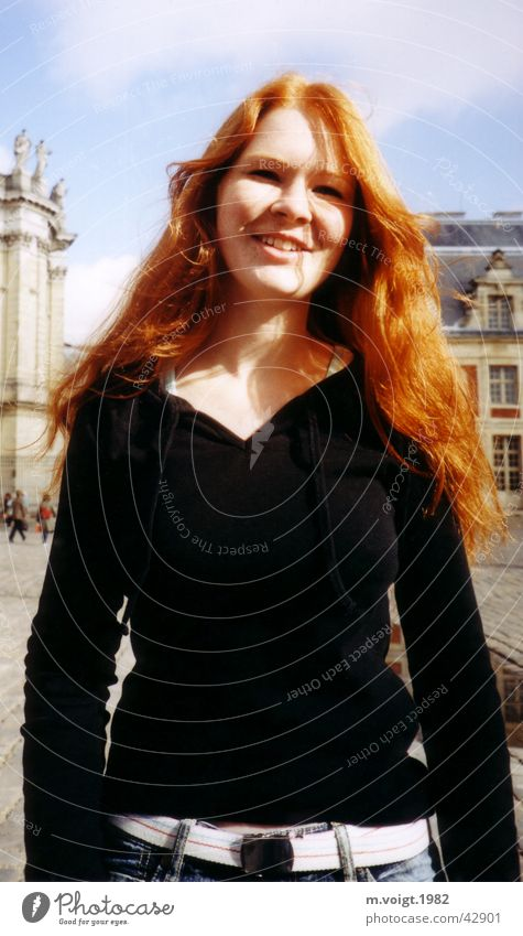 red haired Colour photo Exterior shot Day Contrast Sunlight Portrait photograph Upper body Front view Vacation & Travel Feminine Young woman