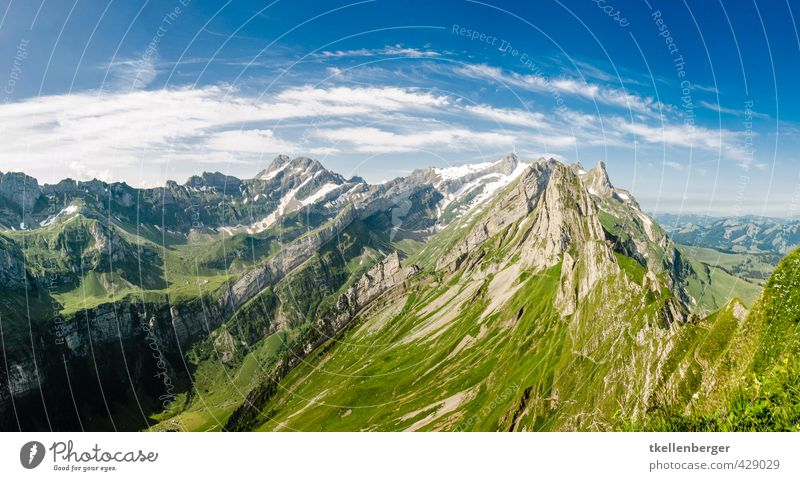 Alpstein Shepherd Summer Mountain Climbing Mountaineering Nature Landscape Clouds Meadow Adventure Vacation & Travel Tourism Tradition Peak Sky Footpath