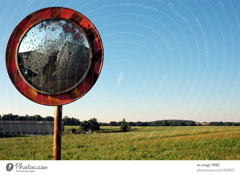 Old Meadow Building Landscape Metal Broken Mirror Village Rust Beautiful weather Converse Barn Road sign Cloudless sky