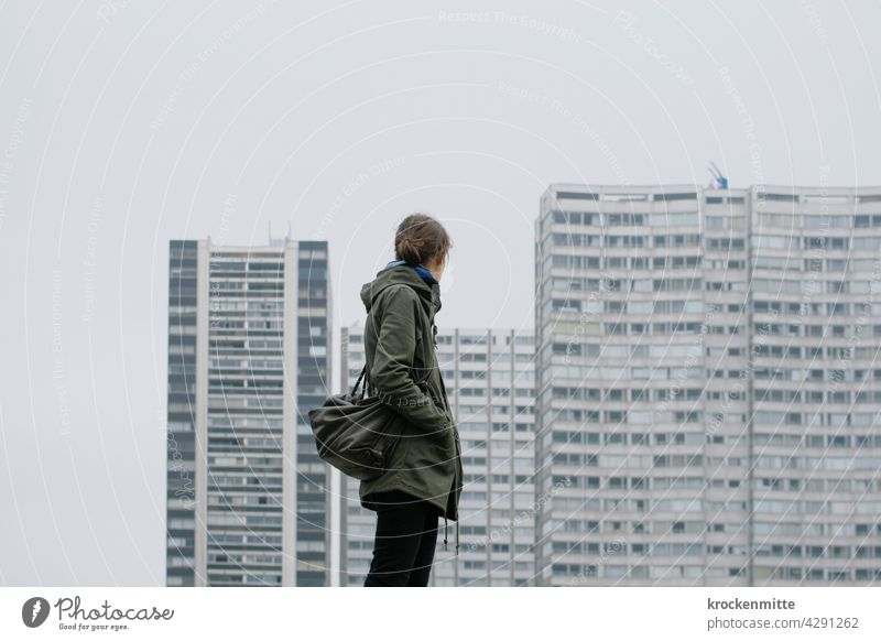 Paris - a woman looks towards an apartment complex in the 15th arrondissement Europe Town House (Residential Structure) Architecture Exterior shot Building