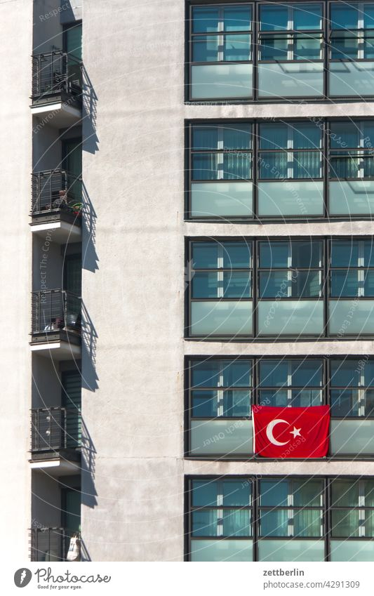 Turkish flag on a block of flats Deserted tranquillity Holiday season Copy Space Flag Nationality emblem Patriotism House (Residential Structure)