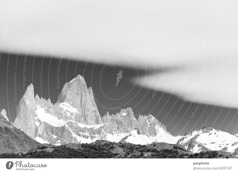Fitz Roy White Veil Adventure Argentina Black & white photo Calm Chile Clouds Forest Moon Moonrise Mountain Night Patagonia Pristine Pure Relaxation Remote Sky