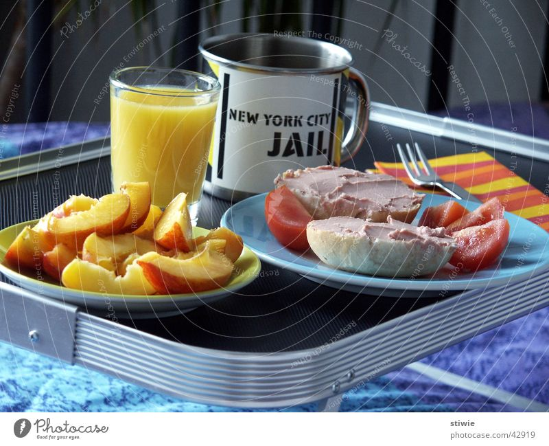breakfast in bed Liver sausage Orange juice Tray Breakfast Roll Cup Mug Bed Wake up Nutrition Bedroom Household Fruit Coffee Morning