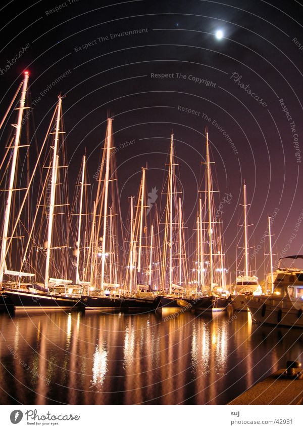 Ocean Watercraft Europe Harbour Moon Electricity pylon Sailboat Yacht Mediterranean sea Corsica Sport boats Calvi