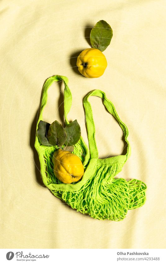 Two quince apple fruits in green mesh bag on linen yellow natural shopping ripe leaf vitamin nature nutrition organic vegetarian quince fruit raw reusable