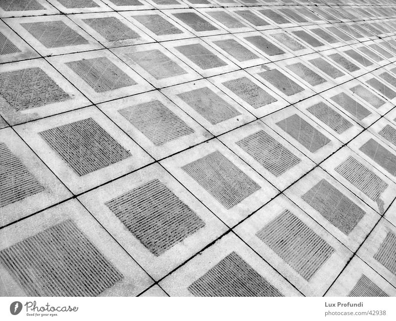 paving slabs Pattern Infinity Obscure Black & white photo Crazy Perspective Paving tiles