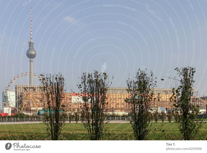 """the """"Palace of the Republic """" with television tower Television tower Berlin Berlin TV Tower Architecture Alexanderplatz Landmark Capital city Tourist Attraction"""