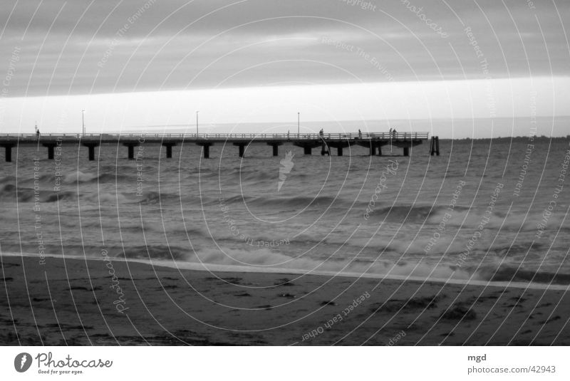 evening mood Ocean Beach Sunset Waves Horizon Water Bridge Sand Black & white photo