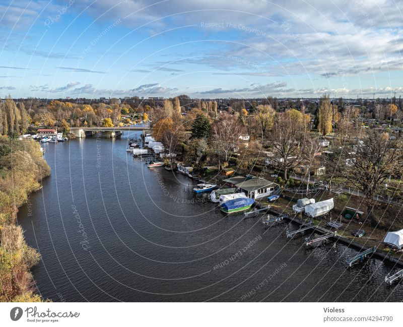 fly away - bille from above Hamburg Hamm River Tributary Canoe Jetty drone Aerial photograph Brown bridge Bridge