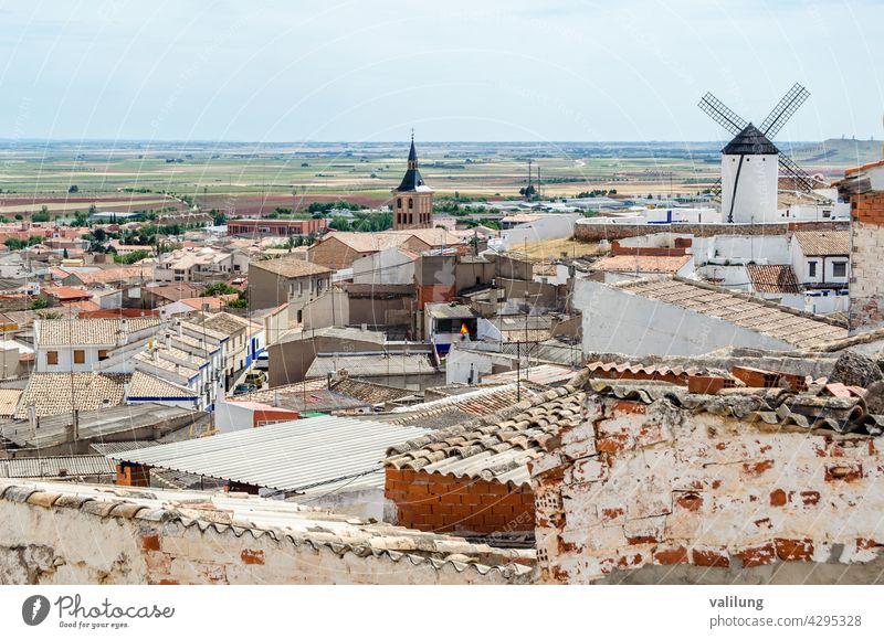 View of Campo de Criptana, a village in Castilla La Mancha, Spain, famous for its windmills on Don Quixote Route Cervantes Ciudad Real Don Quijote
