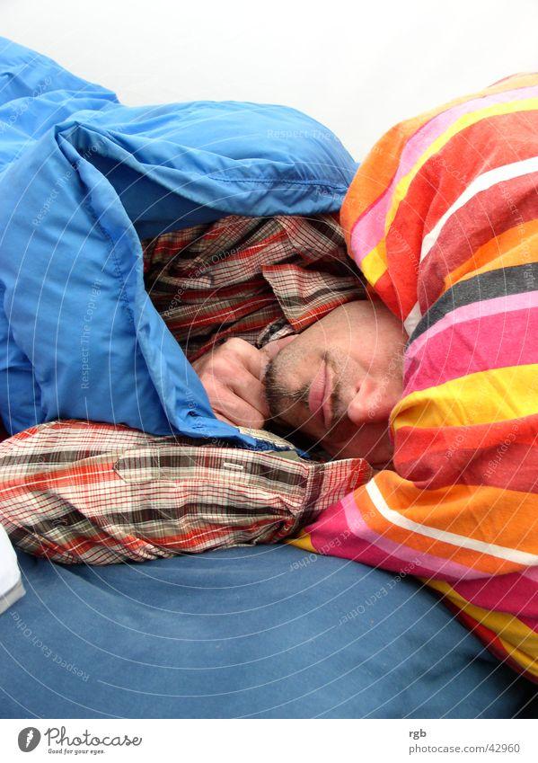 good night Man Sleep Stripe Dream Relaxation Break Multicoloured Pillow Fatigue
