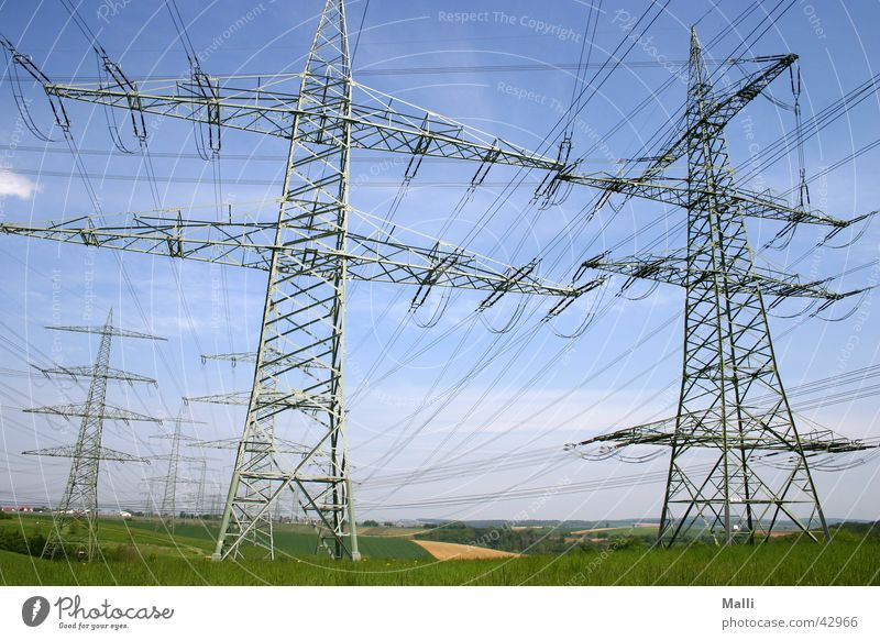 energy Electricity Electricity pylon Wide angle Industry Cable Sky Transmission lines