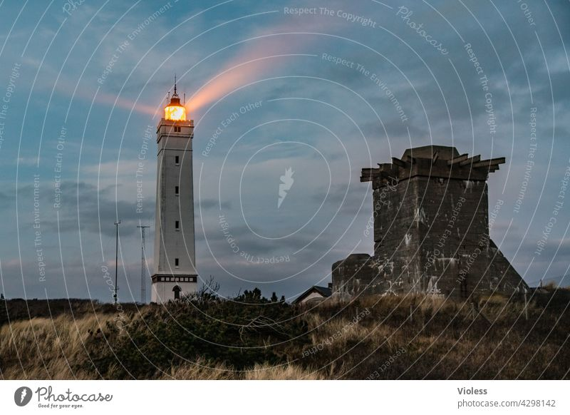 Blavands HukBlavands - Lighthouse Cone of light Dark Twilight Sunset North Sea fyr lighthouse Jutland Marram grass Beach dune duene Denmark Blavands Fyr Nature