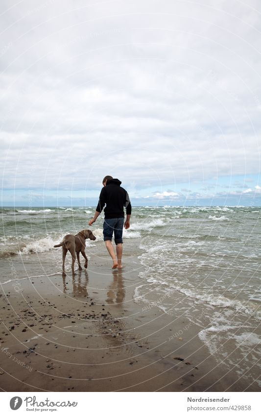 Two friends... two seas. Vacation & Travel Far-off places Freedom Ocean Waves Human being Man Adults Wind Gale Coast Beach North Sea Baltic Sea Lanes & trails