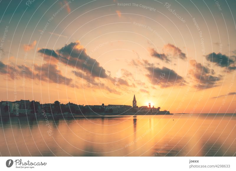 Croatian town Poreč by the sea at sunset Town Old Sunset Ocean Historic vacation Istria Tourism Vacation & Travel Church spire Porec romantic Sky Architecture