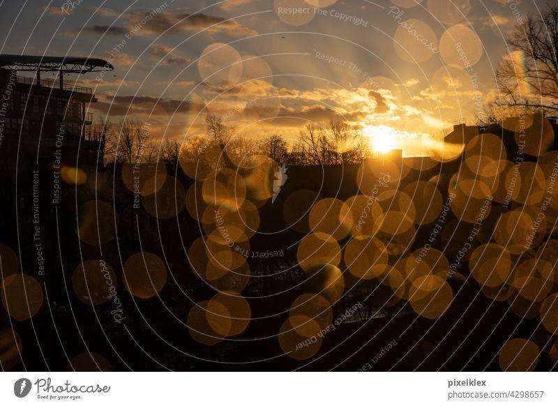 Berlin sunset Sunset Window Window pane Rain raindrops Slice Glass Pane Water Drops of water bokeh Lens flare Sunbeam rays Night Evening Vantage point sight