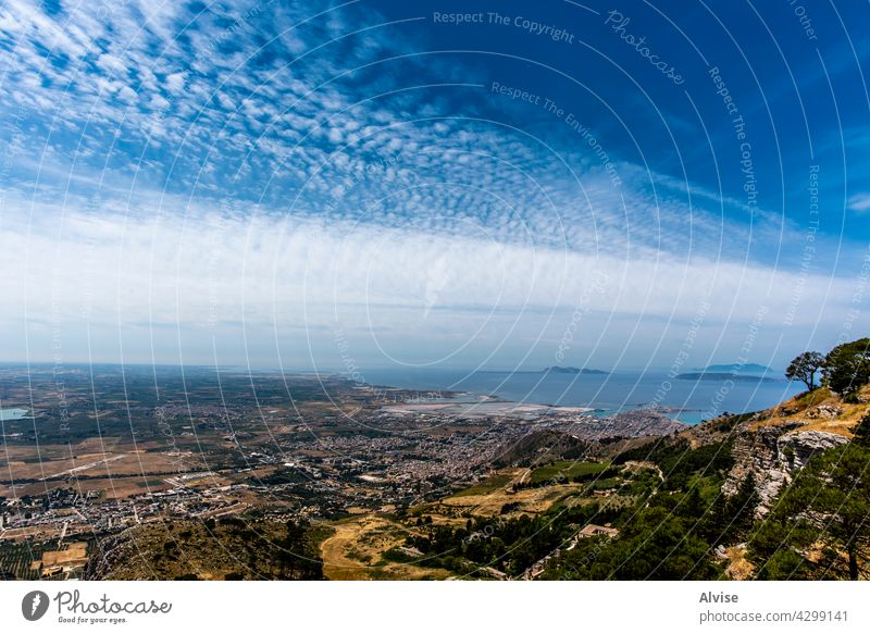 2021 06 01 Erice panorama with sky landscape sicily cloudscape nature italy travel blue view sea europe shore reserve trapani italian mediterranean bay tourism