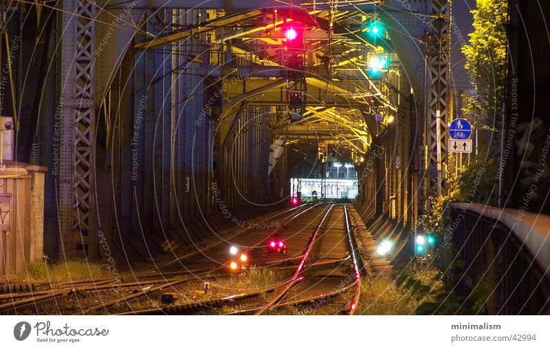 ..both directions Railroad Railroad tracks Night shot Long exposure Hohenzollern Bridge Cologne Central station Carrier Steel carrier Transport