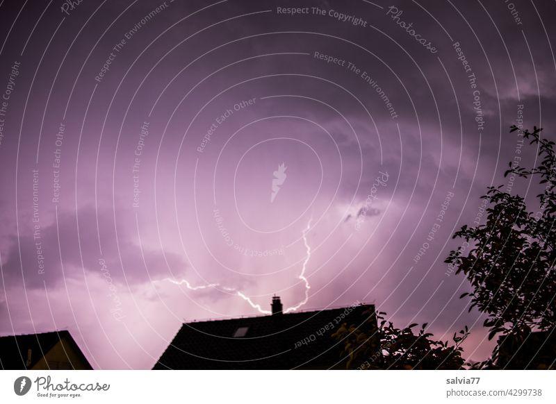 lightning strike Storm Lightning Thunder and lightning Night Sky Bad weather Storm clouds Light (Natural Phenomenon) Weather Threat Elements Night sky