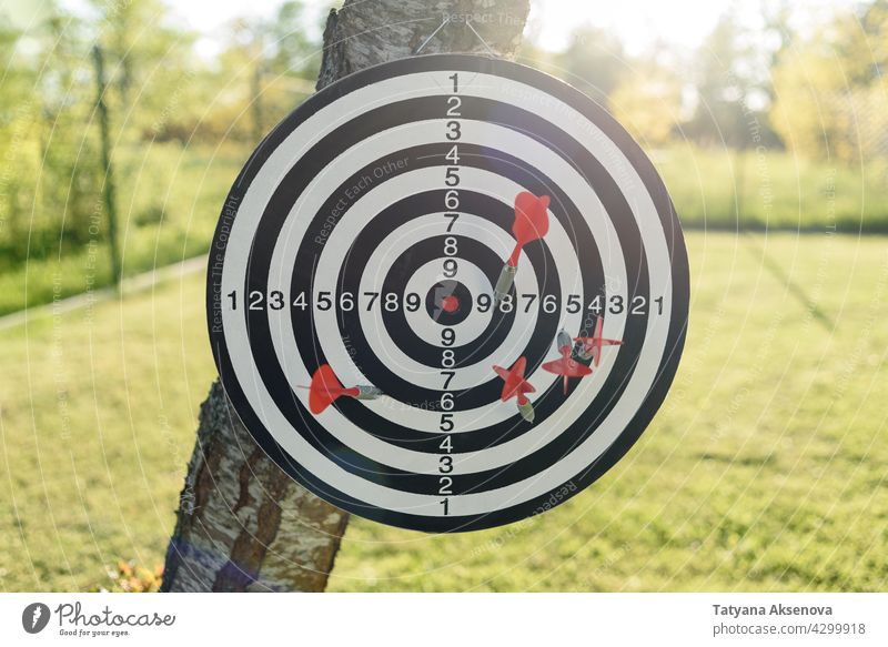 Round darts target with arrows sport success competition goal dartboard achievement game accuracy score concept aim hit play skill center hobby circle point