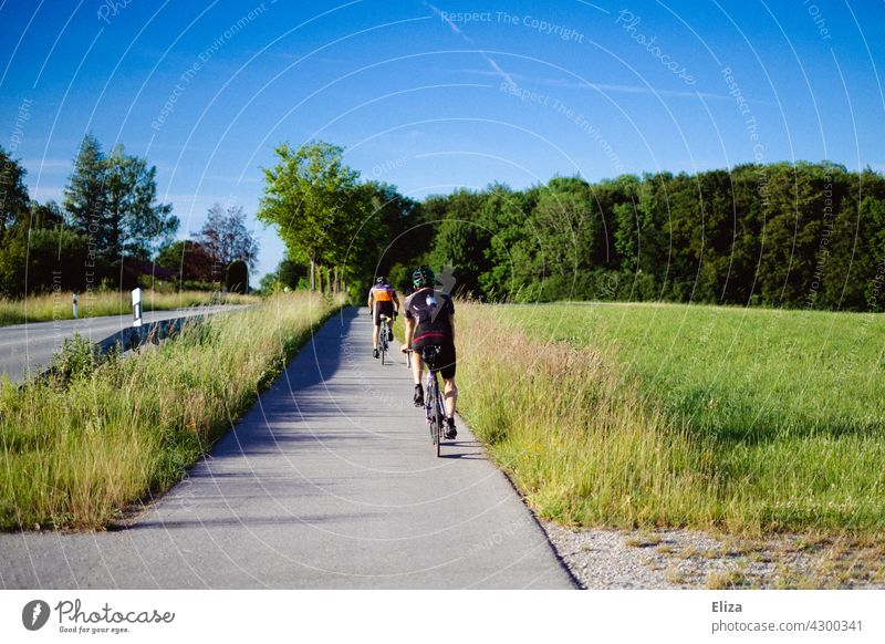 Two road cyclists ride on the bike path next to a road in summer. Road cyclist Racing cycle cycling Bicycle Movement Cycling Sports Street Country road trees