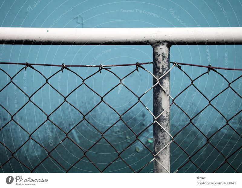 xxTx Fence Steel carrier Old Dirty Dark Trashy Blue White Arrangement Services Border Colour photo Exterior shot Close-up Detail Pattern Structures and shapes