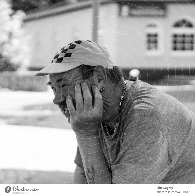 Laughing man ... Man Black & white photo portrait Looking Human being Looking into the camera Face Exterior shot 18 - 30 years Adults