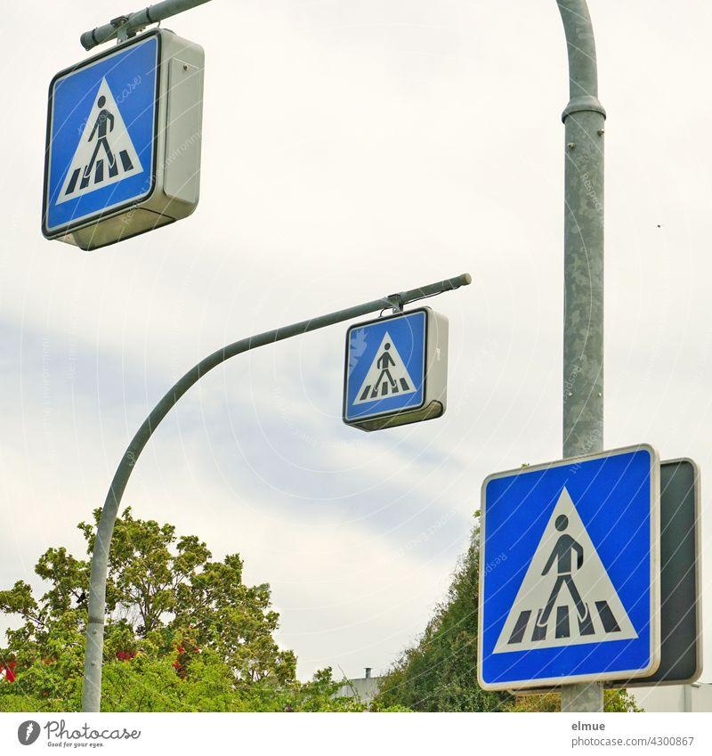 View of three traffic signs Pedestrian crossing / Zebra crossing / VZ 350-10 / VZ 350-20 Road sign Crosswalk Safety Traffic Rules left installation