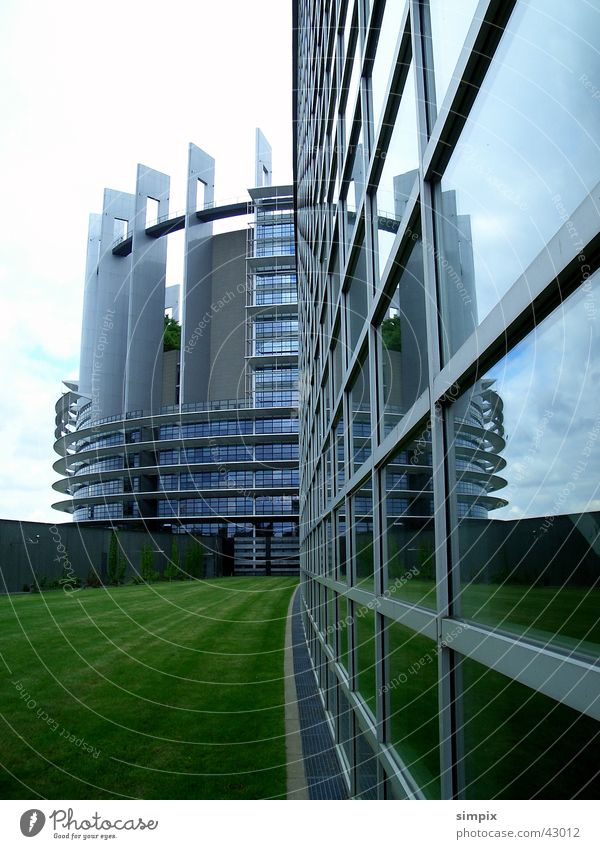 European Parliament Strasbourg Reflection Grass Architecture Glass Star Wars