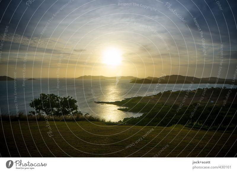 Beautiful Colour Water Sun Ocean Landscape Clouds Far-off places Environment Warmth Coast Horizon Dream Illuminate Gold Island