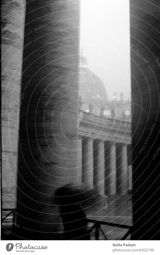 Peter's Cathedral Analog Analogue photo B/W black-and-white Black & white photo St. Peter's Cathedral Rain Weather Umbrella somber shelter Column dome Storm