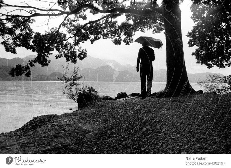 Person with umbrella at the lake in the mountains Analog Analogue photo B/W Black & white photo black-and-white Exterior shot Water Tree person Umbrella Lake