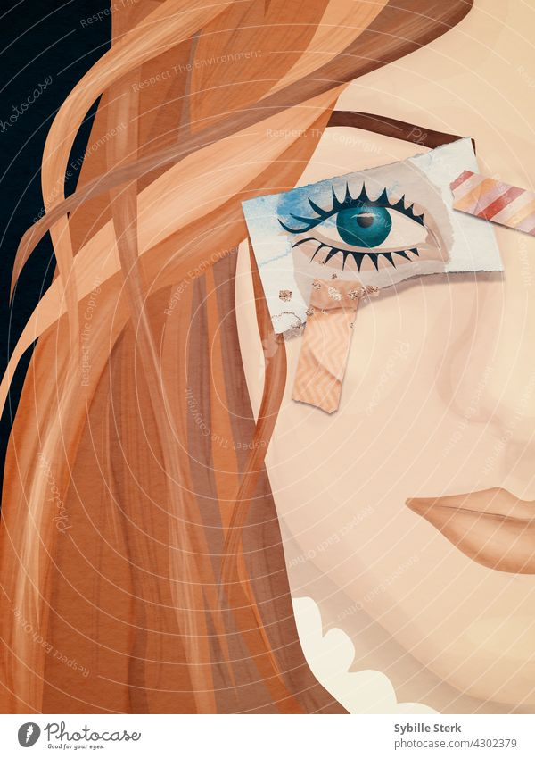 Woman with eye painted on paper instead of a real eye young woman girl red hair green eye long hair blind blinded seeing nothing looking away oblivious white