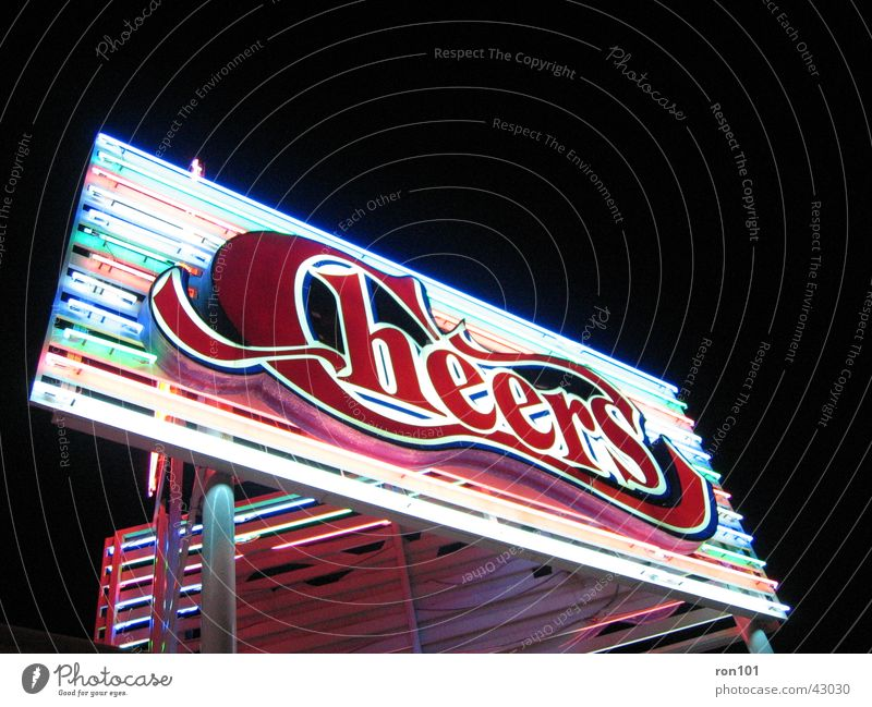 cheers Advertising Neon light Neon sign Black Red Dark Bar Alcoholic drinks