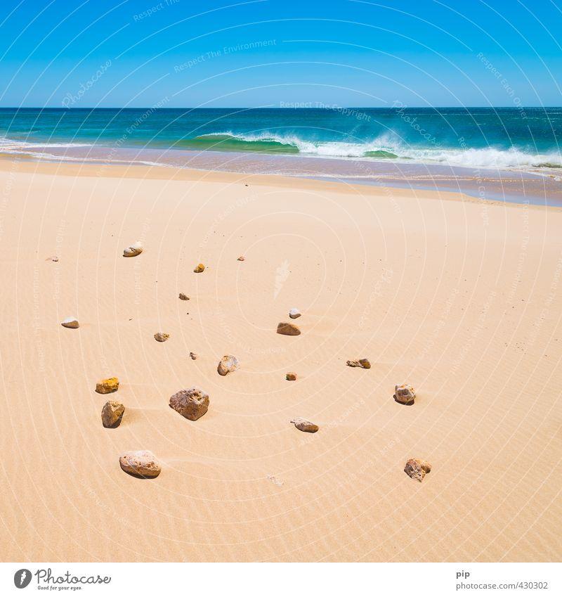 Nature Vacation & Travel Blue Water Summer Ocean Loneliness Beach Yellow Environment Warmth Coast Stone Sand Horizon Waves