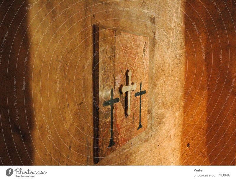 I'll make three crosses... Religion and faith Holy Trinity Terracotta Black Temple House of worship Back Orange