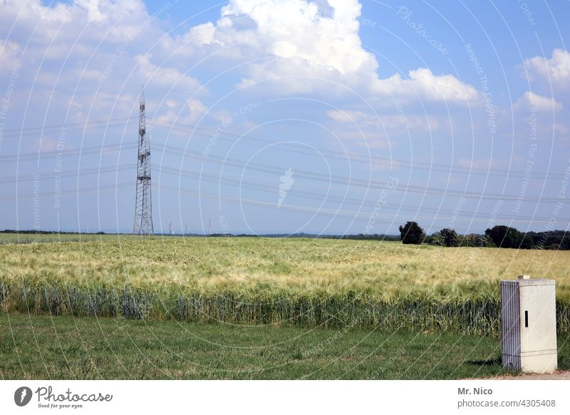energy field Agriculture Landscape Blue sky Nature Field Rural Meadow Summer Sky Beautiful weather High voltage power line Grain field Clouds Electricity pylon