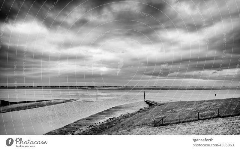 Siel in Emden dollar siel Ems East Frisland Landscape Exterior shot Nature Water coast Ocean Deserted Low water Low tide Dike cloudy Sky Horizon Tide