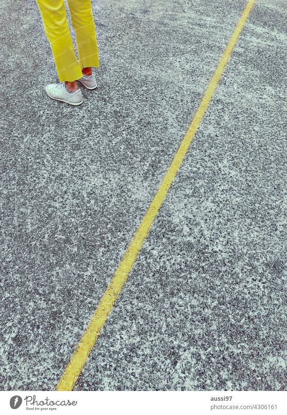 Yello Yellow Line disassociated Pants colored Legs Footwear Feet Colour photo Floor covering Human being Clothing Wait Fashion Stand Feminine segregated