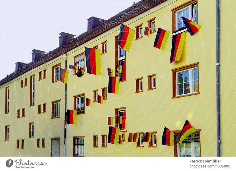 Flag House Germany German flag German Colours black-red-gold German Flag Patriotism Ensign Pride Politics and state Foot ball soccer tournament euro 2020