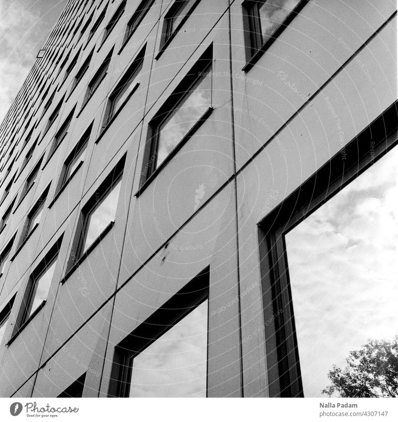 House facade with an open window Analog Analogue photo B/W Black & white photo black-and-white Architecture Wall (building) Facade Window Glass Closed
